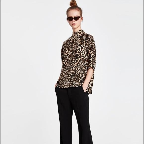 Zara Tops   Zara Woman Leopard Print